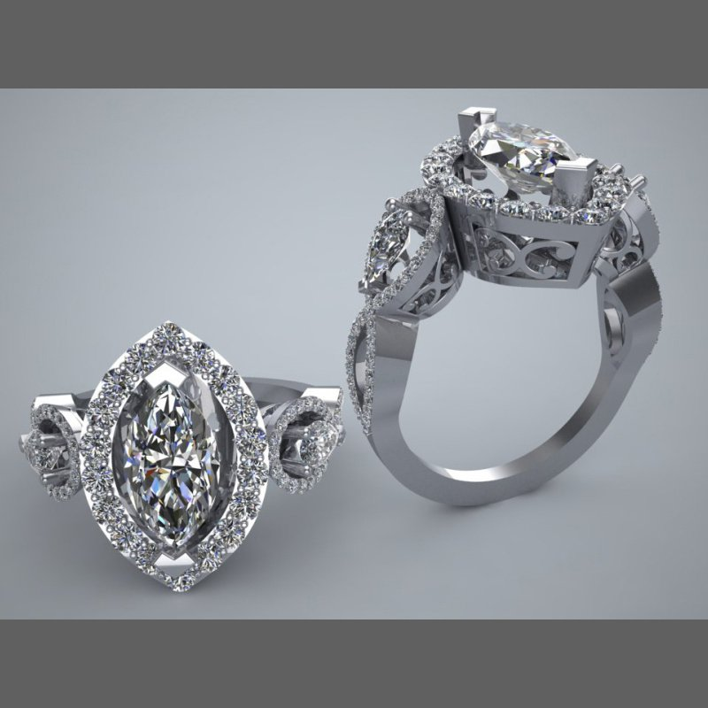 Antony Jewelers Marquise Halo engagement ring with marquise diamonds on a side