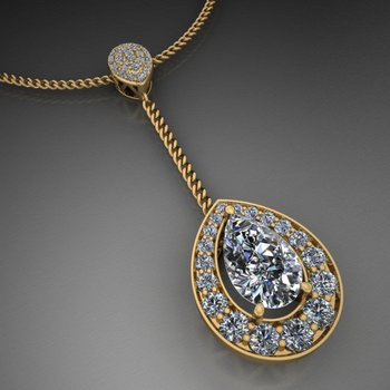 Necklace with pear shape diamond