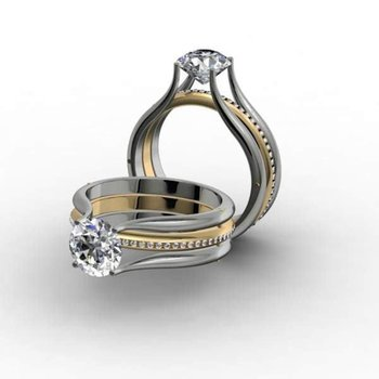 Two tone channel setting diamond engagement ring