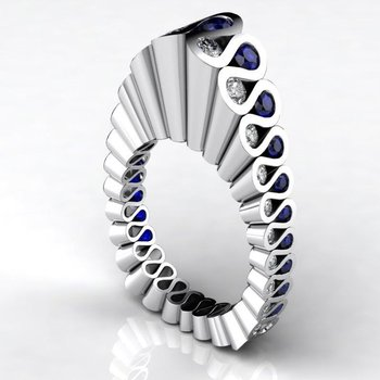 "'Fluted"" fashion ring with diamonds and sapphires"