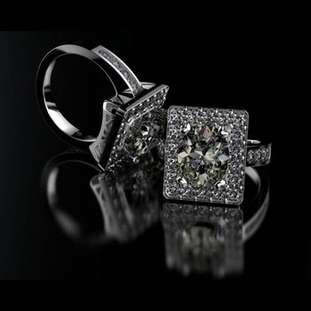 One-of-a-kind diamond engagement ring with light yellow diamond centered