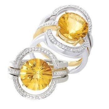 Unique two tone yellow diamond engagement ring