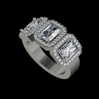 3 Identical Radiant Diamonds Engagement Ring