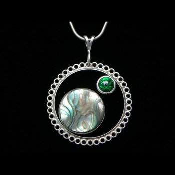 Round pendant with australian opal and jade stones