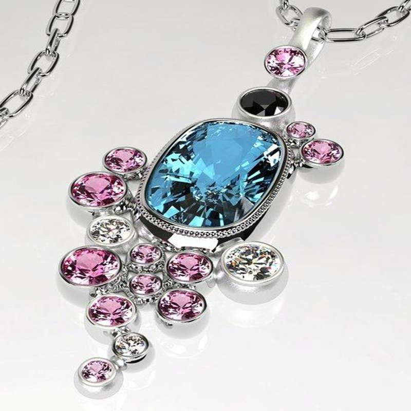 Antony Jewelers Floral style pendant with multicolor stones