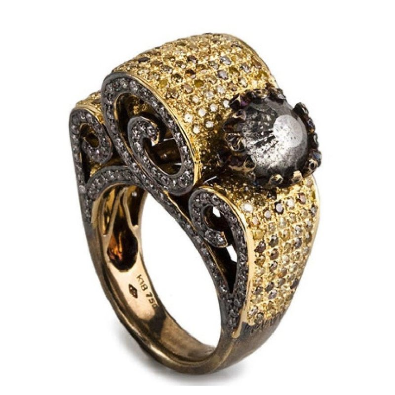Vintage fashion ring with yellow and champagne diamonds