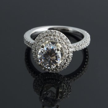 Diamond engagement ring with round halo design