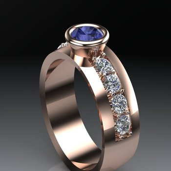 Rose gold sapphire men's ring