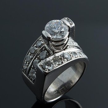 Modern style engagement ring