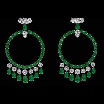 Columbian emerald hoop earrings
