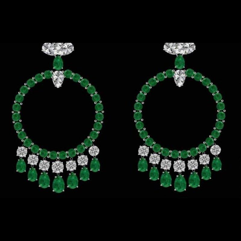 Antony Jewelers Columbian emerald hoop earrings