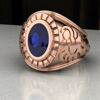 Men's oval sapphire ring