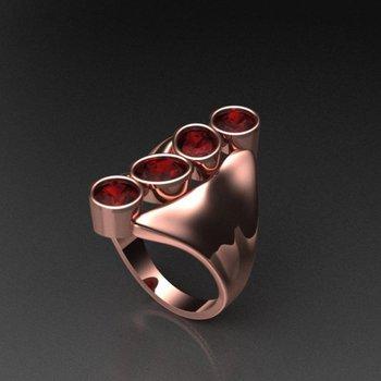 Rose gold rubies  fashion ring