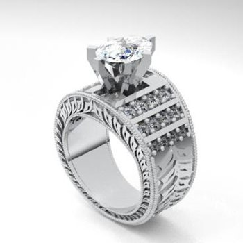 Unique fillegree style diamond engagement ring