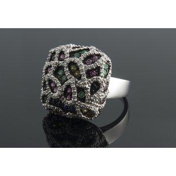 Multicolor sapphires fashion ring
