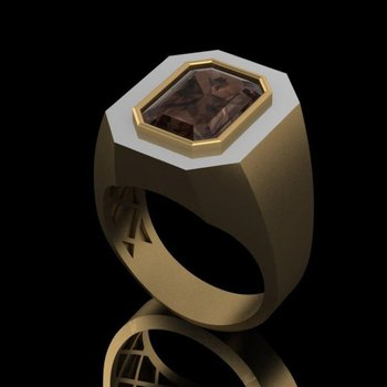 Smokey Topaz men's ring