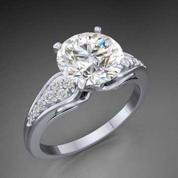 Engagement ring with 2 carat round diamonds