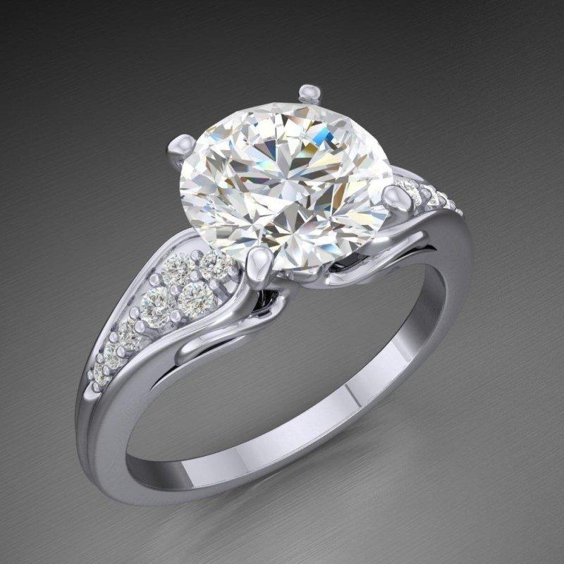 Antony Jewelers Engagement ring with 2 carat round diamonds
