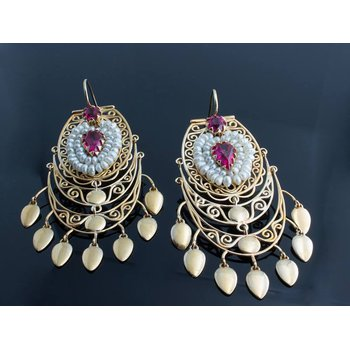 Middle Eastern style yellow gold earrings with rubies