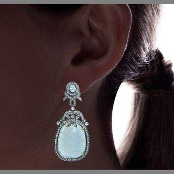Vintage light blue chalcedony earrings