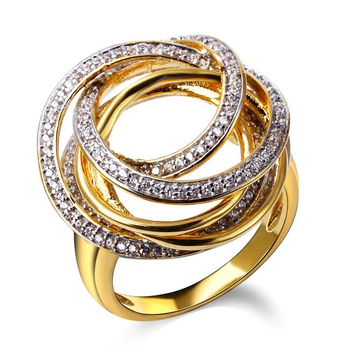 Gold and diamond swirl fashion ring