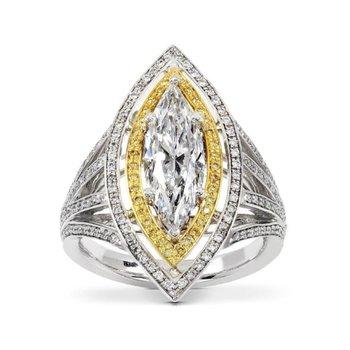Marquise diamond engagement ring with yellow diamonds setting
