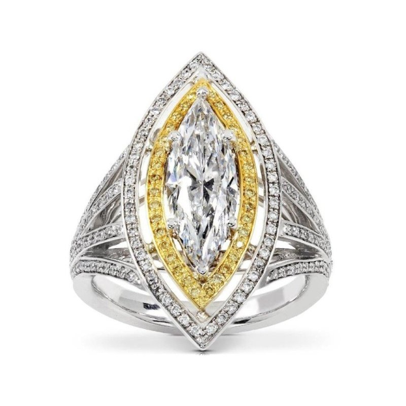 Antony Jewelers Marquise diamond engagement ring with yellow diamonds setting