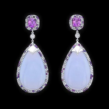 Lavender chalcedony and pink topazes earrings