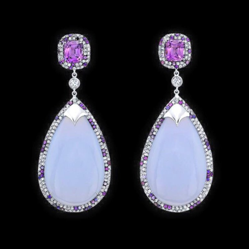 Antony Jewelers Lavender chalcedony and pink topazes earrings