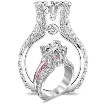 Stylish engagement ring with pink and white diamonds