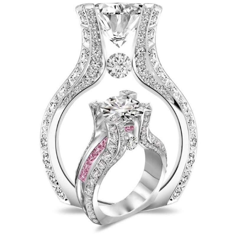 Antony Jewelers Stylish engagement ring with pink and white diamonds
