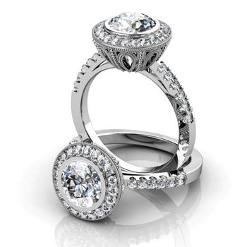 Imperial style engagement ring with diamonds