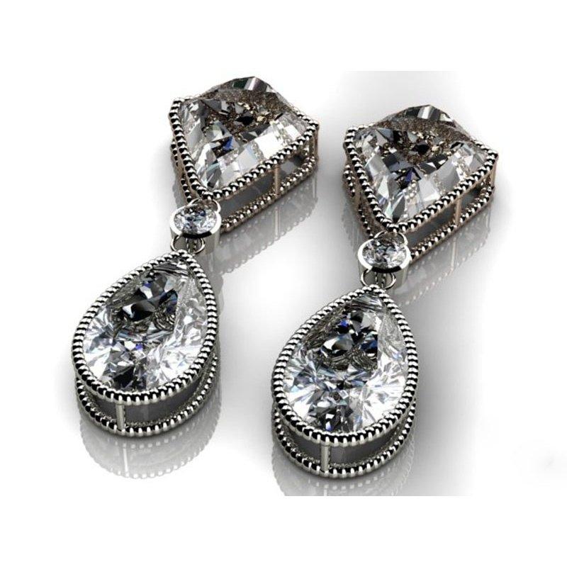 Antony Jewelers White quartz geometrical earrings