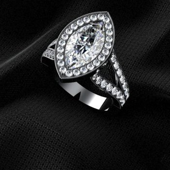 Double shank engagement ring with marquise diamond