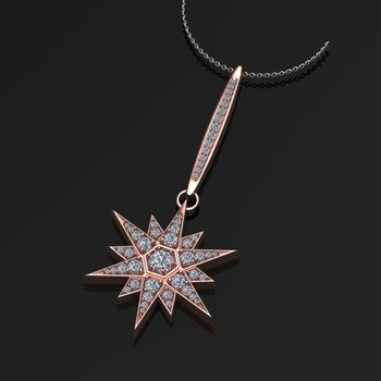 "Rose gold ""Star"" diamond pendant"