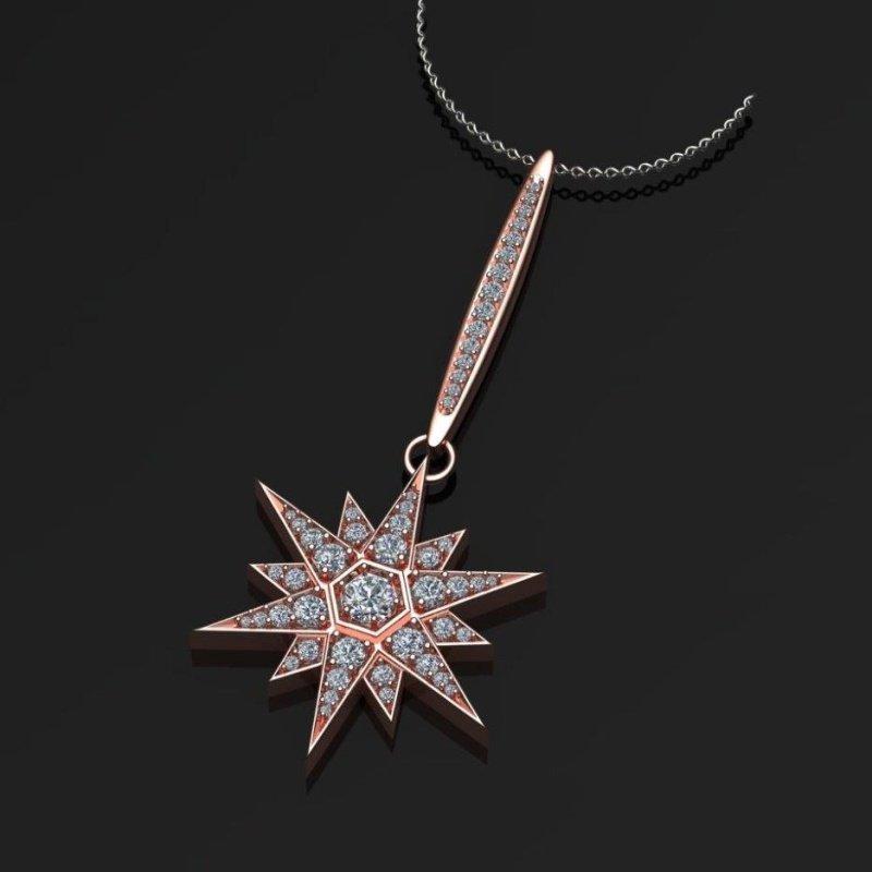 "Antony Jewelers Rose gold ""Star"" diamond pendant"