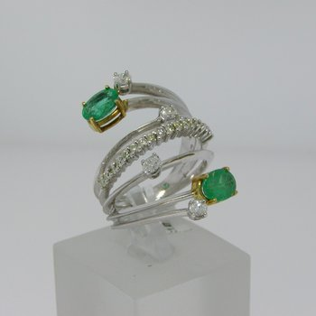 Emerald and diamond multiple bands ring