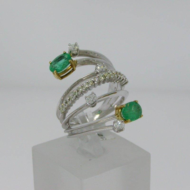 Antony Jewelers Emerald and diamond multiple bands ring