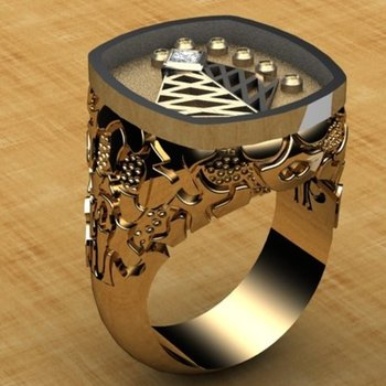 Detail oriented yellow gold men's ring