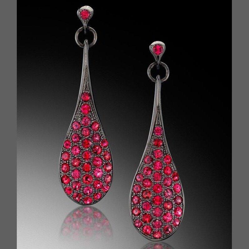 Antony Jewelers  Fantastic rubies earrings set in blackened gold