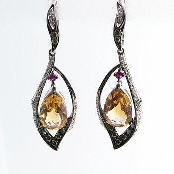 Blackened gold earrings with yellow citrines