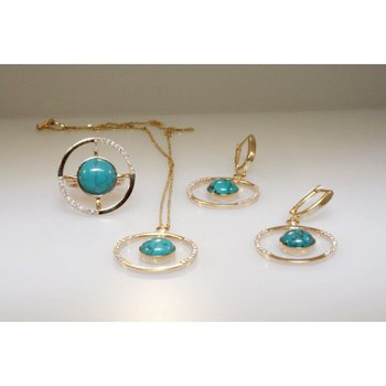 Fine details set: earrings,pendant,ring set with turquoise stones