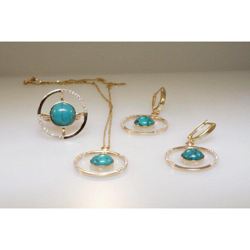 Antony Jewelers  Fine details set: earrings,pendant,ring set with turquoise stones