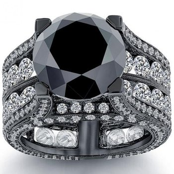 Engagement ring with black diamonds