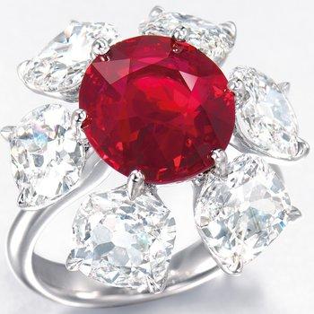 "Premium grade ""flower"" engagement ring"