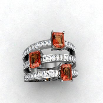 Triple diamond band with orange sapphires