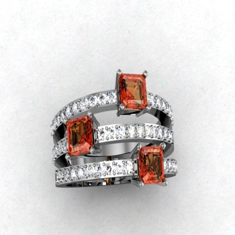 Antony Jewelers Triple diamond band with orange sapphires