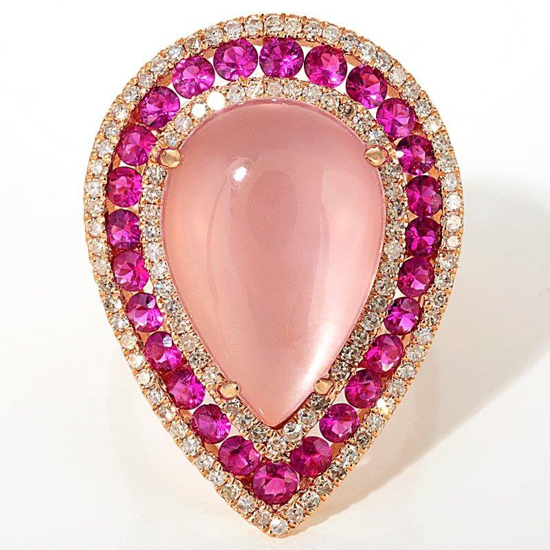 High performance fashion ring with diamonds, pink sapphires and moonstone
