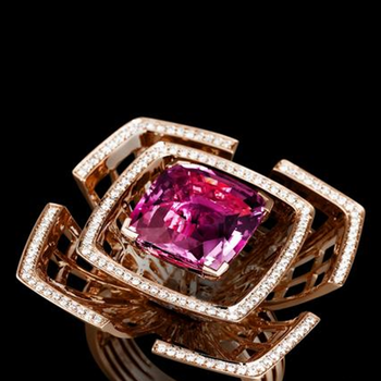 Beautifully designed rose gold ring with diamonds and pink sapphire