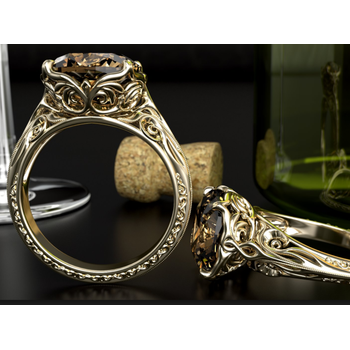 Unique Gold Smoky Quartz engagement ring